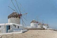 Famous windmills on Mykonos island, Greece Stock Images