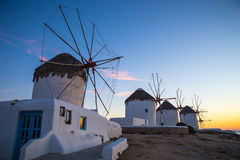 The famous Windmills of Mykonos at sunset, Greece Stock Image