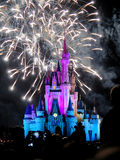 The famous Wishes nighttime spectacular fireworks. At the Disney Magic Kingdom Castle in Orlando, Florida, on febrary 7, 2015 Royalty Free Stock Photos
