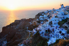Famous wonderful sunset in Oia Stock Photos