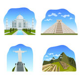 Famous wonders of the world: Taj Mahal, Chichen Itza, Christ the Royalty Free Stock Photos