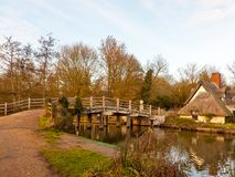Free Famous Wooden Bridge Flatford Mill Suffolk River No People Cottage Royalty Free Stock Photography - 106755507