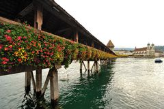 Famous wooden bridge in Lucerne Switzerland. Stock Photography