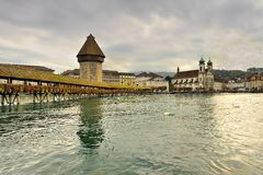 Famous wooden bridge in Lucerne Switzerland. Royalty Free Stock Images