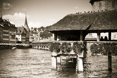 Famous wooden bridge in Lucerne Royalty Free Stock Photography