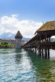 Famous wooden Chapel Bridge in Luzern Stock Photo