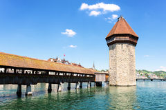 Famous wooden Chapel Bridge in Luzern Royalty Free Stock Photography