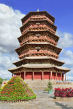 Famous wooden pagoda of Fogong Buddhist temple, Yingxian, China Royalty Free Stock Image
