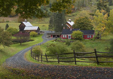 The famous Woodstock barn in Vermont. Autumn shines through in a rural Vermont scene Stock Images
