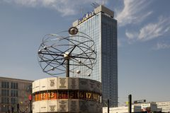 Famous World Clock located in Alexanderplatz in Berlin Royalty Free Stock Photography