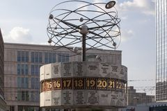 Famous World Clock located in Alexanderplatz in Berlin Stock Images
