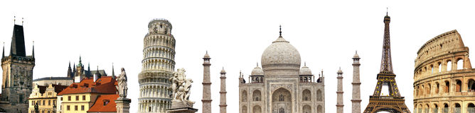 Famous world  landmarks background Royalty Free Stock Images