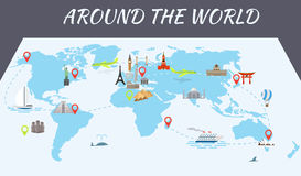 Famous world landmarks icons on the map Stock Photo