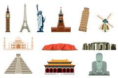 Famous World Landmarks. Travel and Tourism. Vector. Illustration Stock Photo