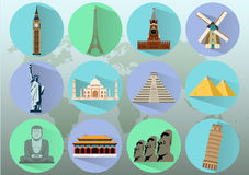 Famous World Landmarks. Travel and Tourism. Vector Stock Photography