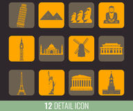 Famous World Landmarks. Travel and Tourism. Vector Stock Photos