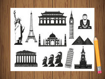 Famous World Landmarks. Travel and Tourism. Vector Royalty Free Stock Photography