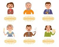 Famous writers. Vector. Cartoon. Royalty Free Stock Photography