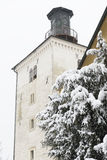 A famous Zagreb landmark, Lotrscak tower, during a winter snowst. Orm Stock Image