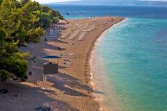 Famous Zlatni Rat beach on Brac island Royalty Free Stock Photography