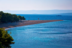 Famous Zlatni Rat beach on Brac island view Royalty Free Stock Photos