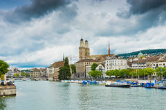 Famous Zurich churches Royalty Free Stock Image