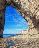 Famouse Etretat arch rock, France Royalty Free Stock Images