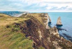 Famouse Etretat arch rock, France Stock Photos