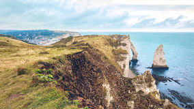 Famouse Etretat arch rock, France Royalty Free Stock Photography