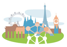 Famouse_european_buildings Fotografia Stock