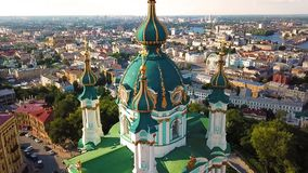 Famouse Kiev Ukraine St Andrew`s Church . View from above. aerial video footage. the camera flies very close to the dome stock video footage