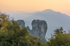Famouse monastery of Meteora in sunset light Royalty Free Stock Photography