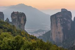 Famouse monastery of Meteora in sunset light Royalty Free Stock Images