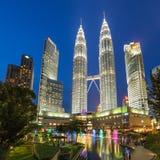 Famouse Petronas Towers at night In Kuala Lumpur, Malaysia. Royalty Free Stock Photos