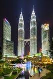 Famouse Petronas Towers at night In Kuala Lumpur, Malaysia. Stock Photos