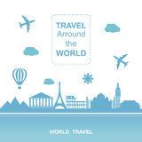 Famouse places. Travel arround the world vector illustration. Travelling by plane, airplane trip in various country. Stock Image
