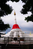 Famouse White pagoda with red silk at Koh kret Royalty Free Stock Photos