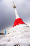 Famouse White pagoda with red silk at Koh kret Stock Image