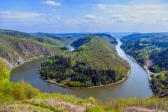 Famousn-Ansicht an der Saar-Schleife bei Cloef Stockfotos