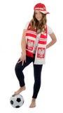 Fanático del fútbol adolescente del polaco de la muchacha Fotos de archivo libres de regalías