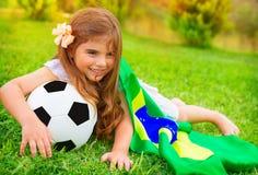 Fanático del fútbol alegre joven Fotografía de archivo
