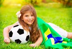 Fanático del fútbol alegre joven Imagen de archivo