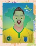 Fanático del fútbol brasileño Imagen de archivo