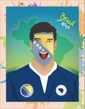 Fanático del fútbol de Bosnia y Hercegovina Foto de archivo