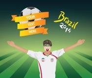 Fanático del fútbol de Irán Fotos de archivo libres de regalías