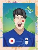 Fanático del fútbol de Japón Fotos de archivo libres de regalías