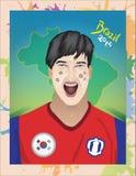 Fanático del fútbol de la Corea del Sur Fotografía de archivo libre de regalías