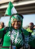Fanático del fútbol de Nigeria en el mundial 2018 de la FIFA en Rusia Imágenes de archivo libres de regalías
