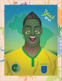 Fanático del fútbol del Brasil Fotos de archivo libres de regalías