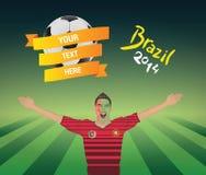 Fanático del fútbol portugués Foto de archivo libre de regalías